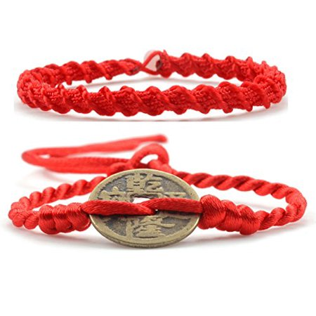 LUOS 2pcs handmade red string feng shui coin bracelet anklet – wealth Goodluck prosperity protection women men kids – st065set - Feng Shui Crystal Bracelet