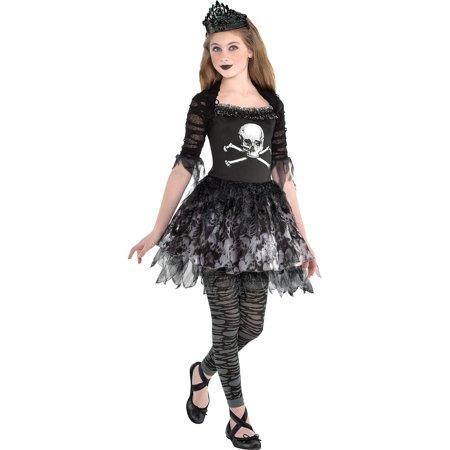 Zombie Ballerina Dress Halloween Costume for Girls, Medium, with Accessories