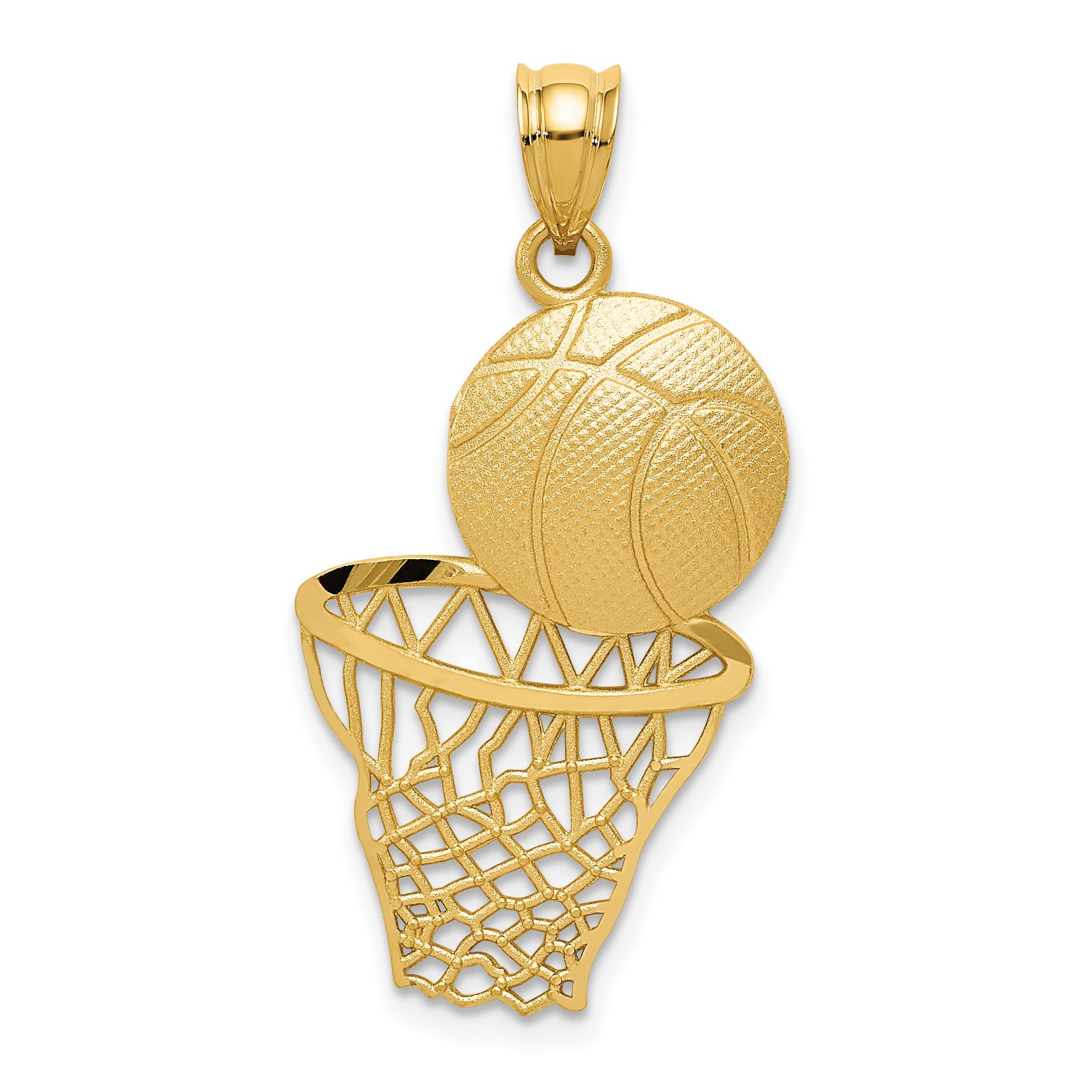 a43618629d301 14k Yellow Gold Basketball Net Pendant Charm Necklace Sport Man ...