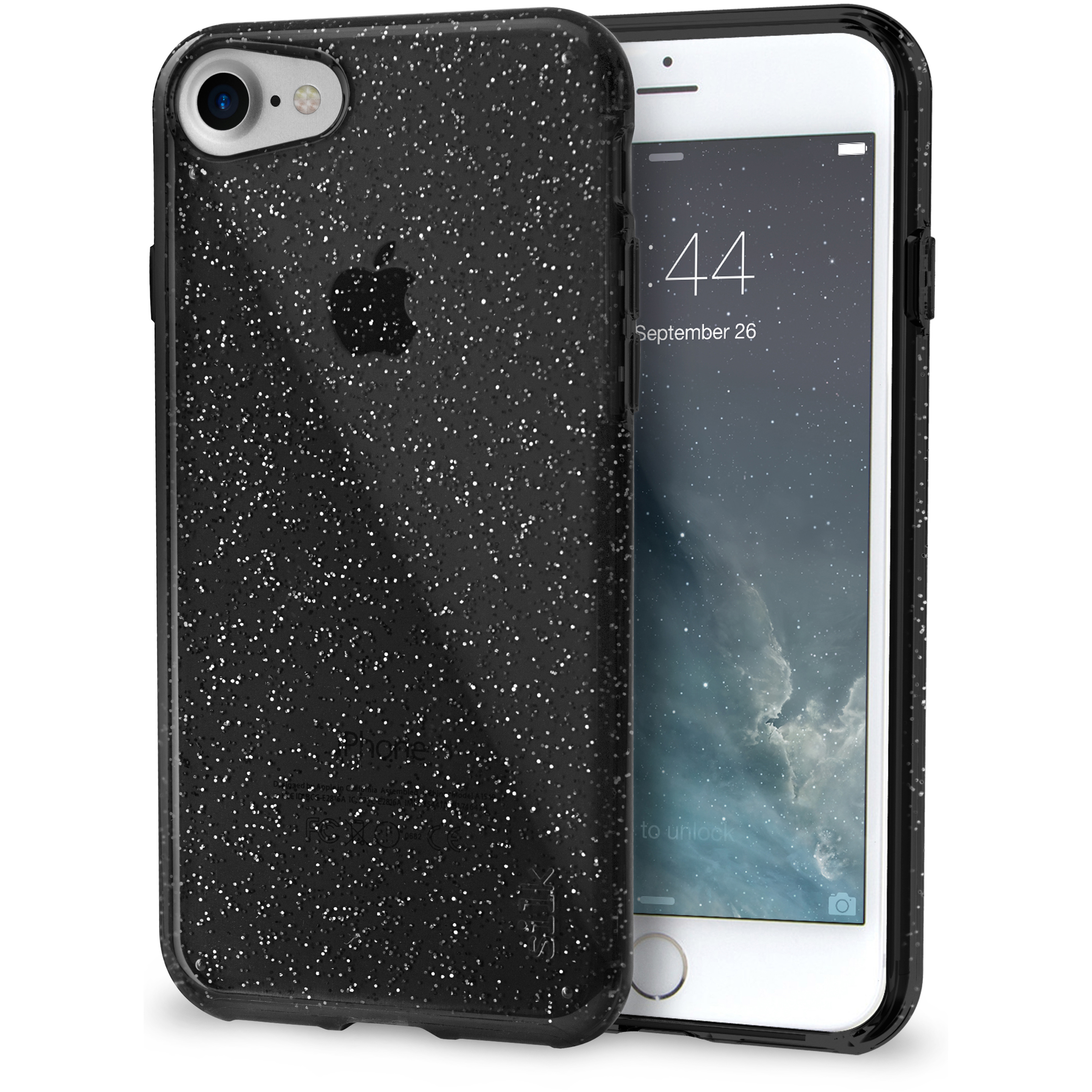 Silk iPhone 7/8 Glitter Case - PureView for iPhone 7/8 [Ultra Slim Fit Clear Sparkle Cover] - Smoked Silver