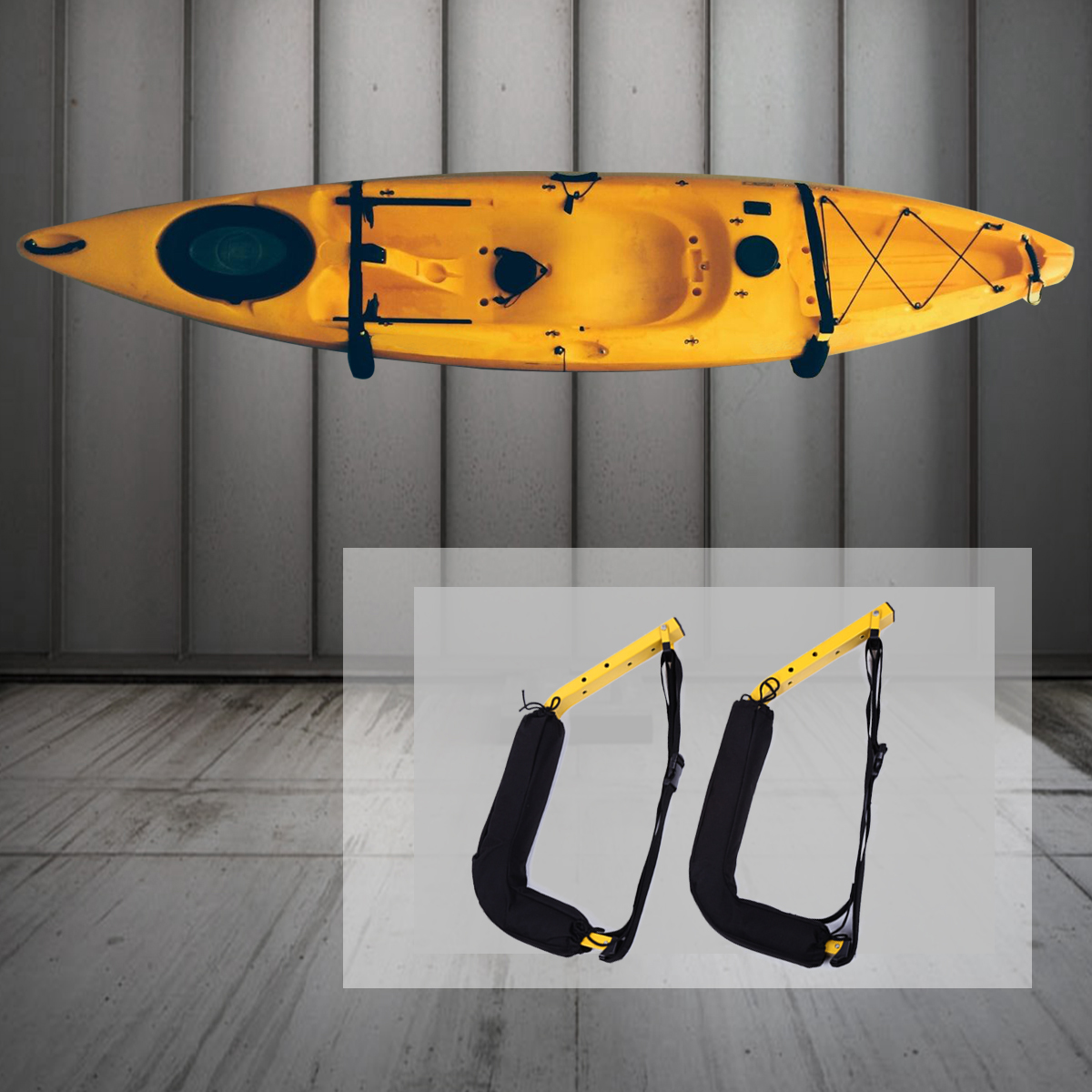 100 Lbs kayak Rack Outdoor Sports Canoe SUP Surfboard Wall Mount Storage Rack Wall Hanger with Safety Straps Boat Accessories