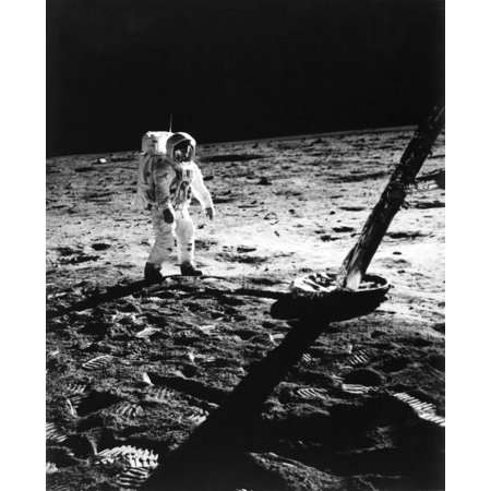 1960s Astronaut Buzz Aldrin In Space Suit Walking On The Moon Near The Apollo 11 Lunar Module July 20 1969 Print By