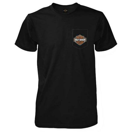Harley-Davidson Men's Bar & Shield Logo Chest Pocket Short Sleeve T-Shirt, Black, Harley Davidson
