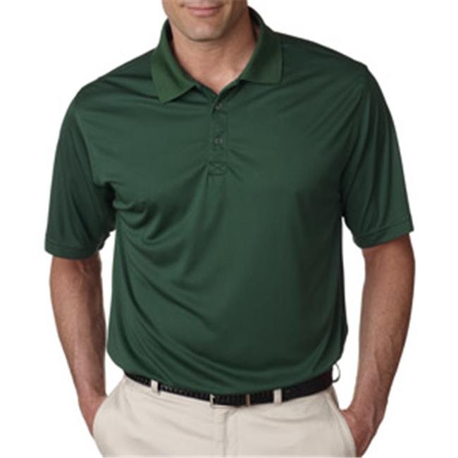 UltraClub 8425 Mens Cool & Dry Sport Performance Interlock Polo - Forest Green, Small