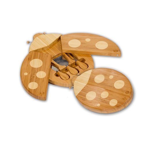 Picnic Plus 4 Piece Ladybug Bamboo Cheese Board and Tool Set