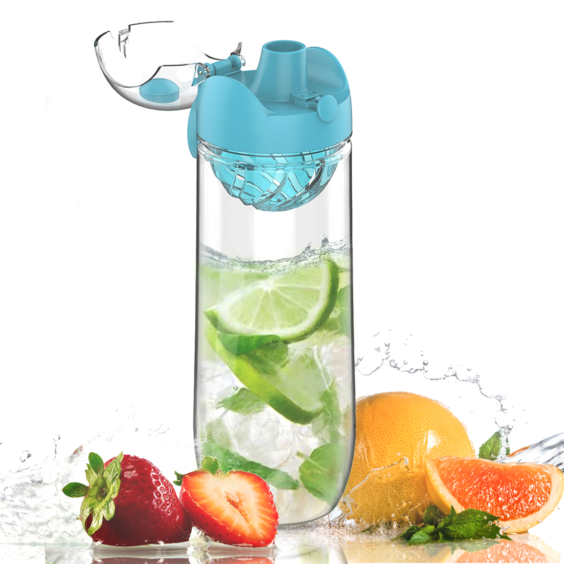 AVOIN colorlife Sports and Outdoors Fruit Infusion Water Bottle with 2nd Generation Premium Infuser & One-Click Flip Top - 32oz Large, BPA Free - Your Healthy Hydration Made Easy
