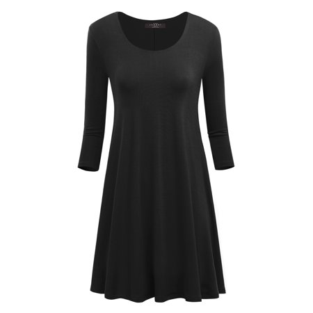 Made By Johnny MBJ WDR930 Womens Round Neck 3/4 Sleeves Trapeze Dress With Pockets L Black