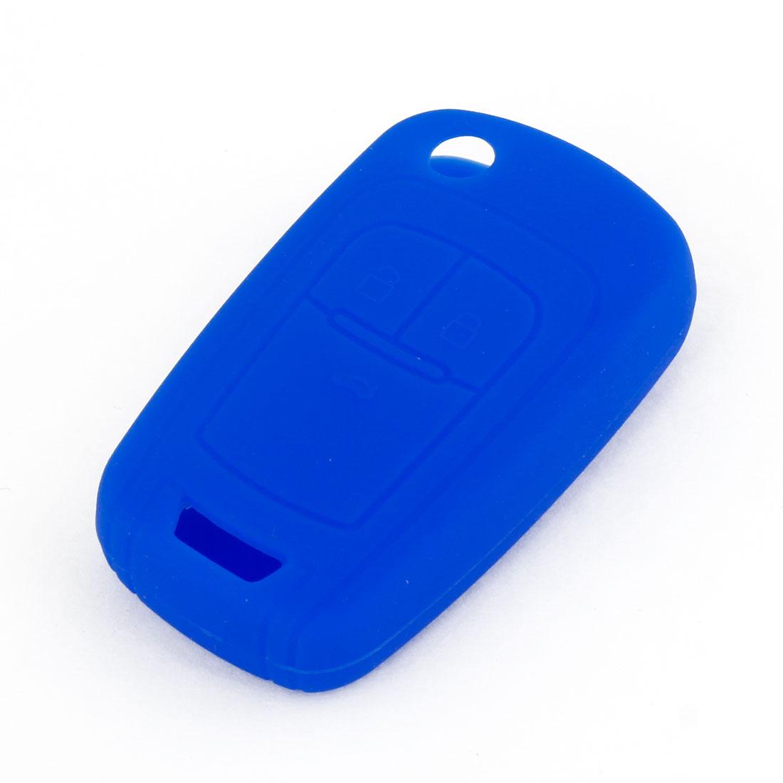 Unique Bargains Vehicles Car Blue Soft Silicone Remote Key Case Holder Cover Case for Buick