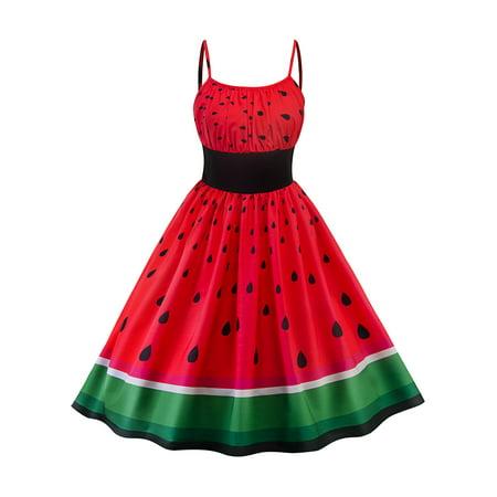 Woman Spaghetti Strap Slip Waistband Watermelon Cocktail Party Evening Cami Swing Dress