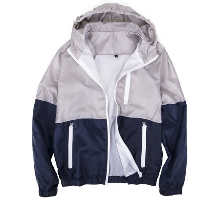 LELINTA Mens Zipper Jacket Casual Hip Hop Windbreaker Sporting Hooded Comfortable Coat Grey/Blue Color ()