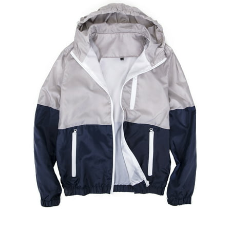 LELINTA Mens Zipper Jacket Casual Hip Hop Windbreaker Sporting Hooded Comfortable Coat Grey/Blue Color](Mens Pirate Jacket)