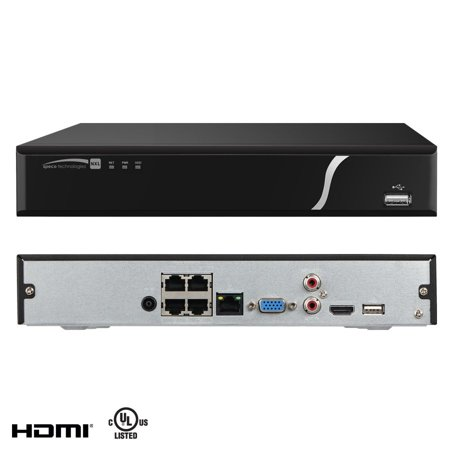 Speco - N4NXL1TB - Speco 4 Channel NVR with Built-in PoE+ Switch - Network Video Recorder - H.264 Formats - 1 TB Hard