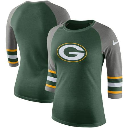 Green Bay Packers Nike Women's Stripe 3/4-Sleeve Raglan Tri-Blend T-Shirt - Green
