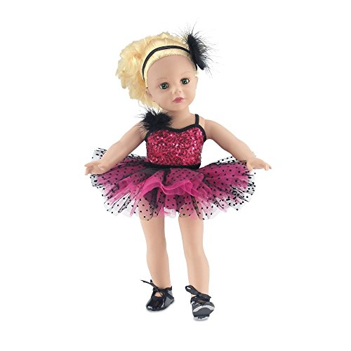 18 Inch Doll Clothes | Amazing Pink and Black Jazz Ballet Outfit, Includes Shimmery Beaded... by Emily Rose Doll Clothes