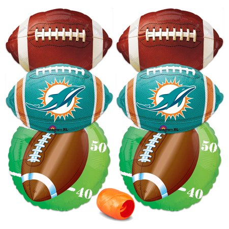 Miami Dolphins Party Decorations (Miami Dolphins NFL Football Party Mylar Foil 7pc Balloon Pack, Teal Orange)