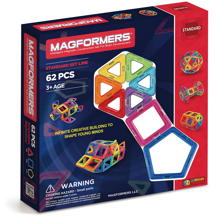Magformers Magnetic Tiles 62 piece Rainbow Accessory Set