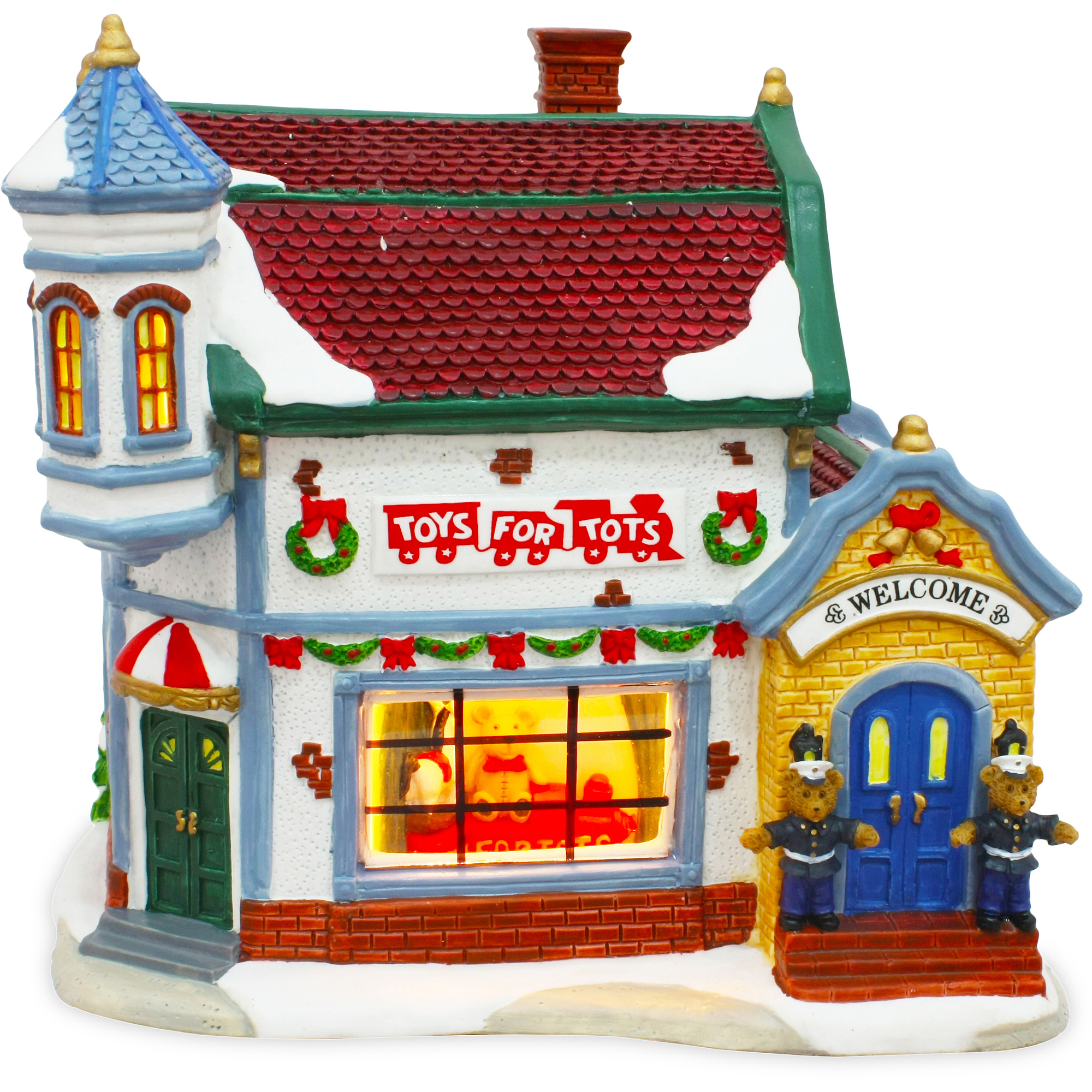 Toys For Tots Building Christmas Village Figurine Piece - Walmart.com