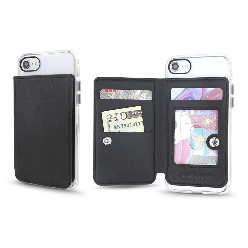 Gear Beast Universal Cell Phone Flip Folio Stick On Slim PU Leather Wallet 3 Slot Card Holder including Transparent ID Holder for Men & Women (Black)
