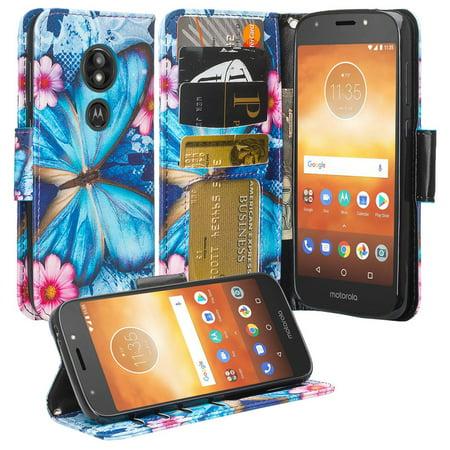 Moto E5 Plus Case, Moto E5 Supra Case,Cute Girls Women Pu Leather Wallet Case with ID Slot & Kickstand Phone Case for Motorola Moto E5 Plus - (Blue Butterfly) - image 6 of 6