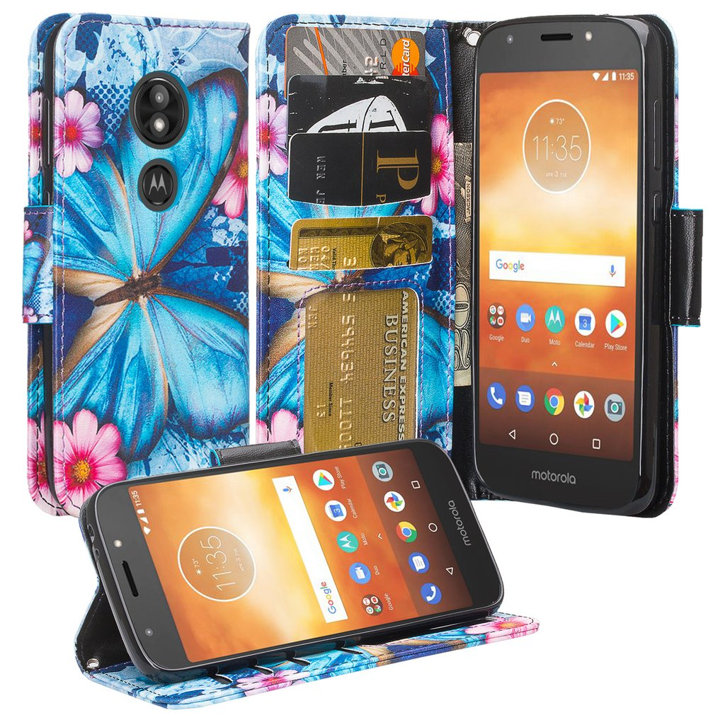 Moto E5 Plus Case, Moto E5 Supra Case,Cute Girls Women Pu Leather Wallet Case with ID Slot & Kickstand Phone Case for Motorola Moto E5 Plus - (Blue Butterfly)