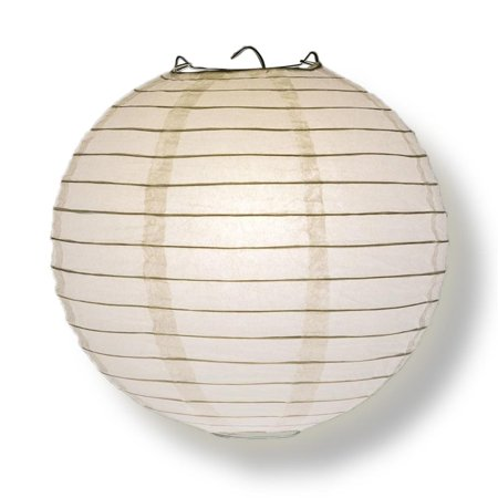 Quasimoon PaperLanternStore Decorative Paper Lantern - (Single, 20-Inch, White, Even Ribbing) Round Paper Lantern - Ideal Wedding and Party Decor or Home Accent, Lighting Optional Painting Paper Lantern