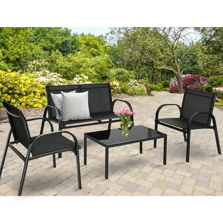 Costway 4 PCS Patio Furniture Set Sofa Coffee Table Steel Frame Garden Deck Black ()