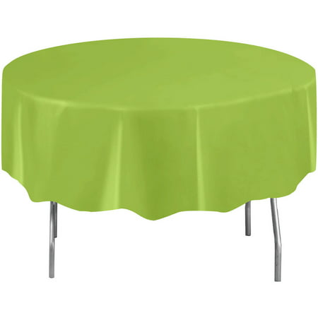 Lime Green Plastic Party Tablecloth, Round, 84in - Round Plastic Tablecloth
