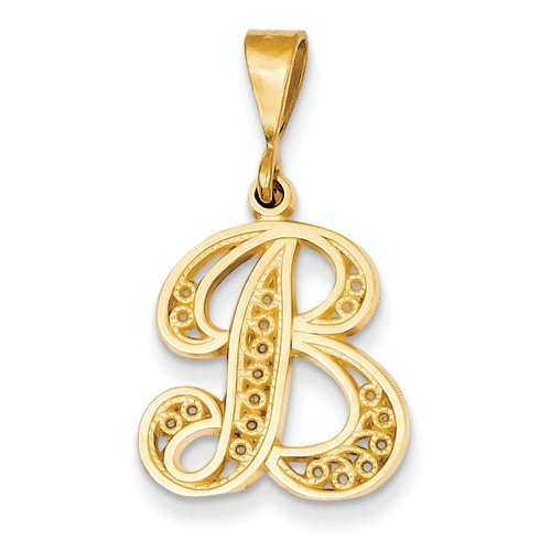14k Yellow Gold Initial B Charm Pendant