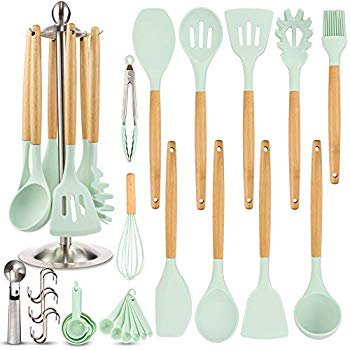 Silicone Kitchen Cooking Utensil Set Eagmak 16pcs Kitchen Utensils Spatula Set With Stainless Steel Stand For Nonstick Cookware Bpa Free Non Toxic Cooking Utensils Kitchen Tools Gift Mint Green Walmart Com
