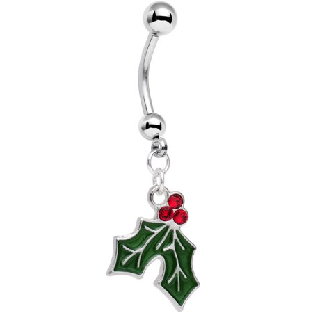 Body Candy Holiday Mistletoe Dangle Belly Ring Created with Swarovski Crystals
