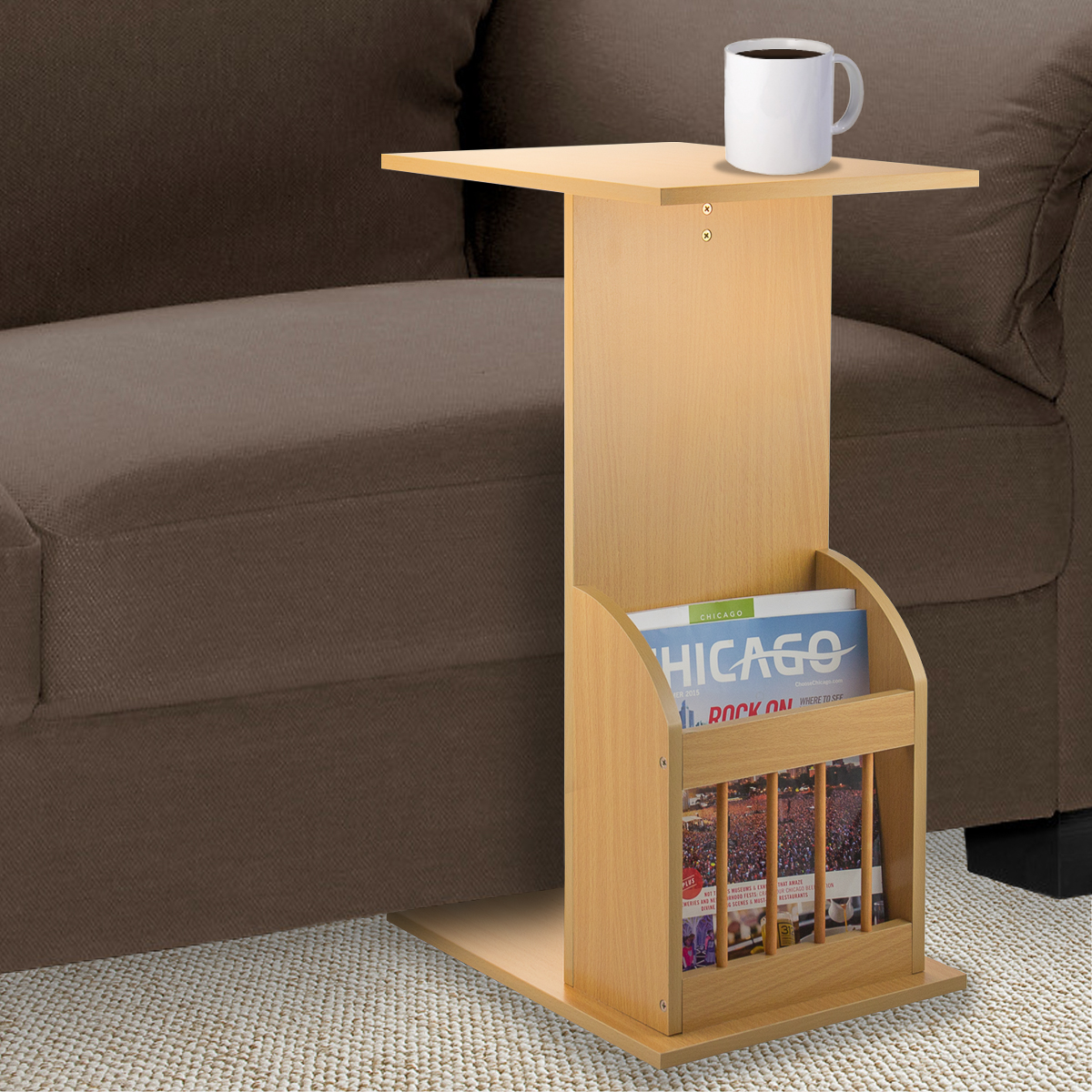 C Shape Light Wood Sofa End Side Table Magazine Living Room Furniture Couch Home Snack Tray