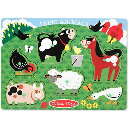 Melissa & Doug Farm Animals Wooden Peg Puzzle (6 pcs) - Farm Animals Sound Peg Puzzle