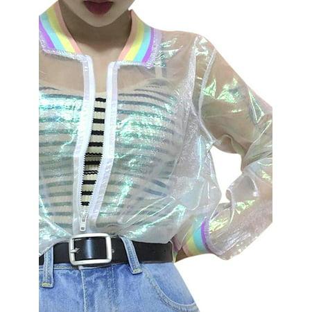 MAXSUNLLC Women Iridescent Transparent Rainbow Jacket Top