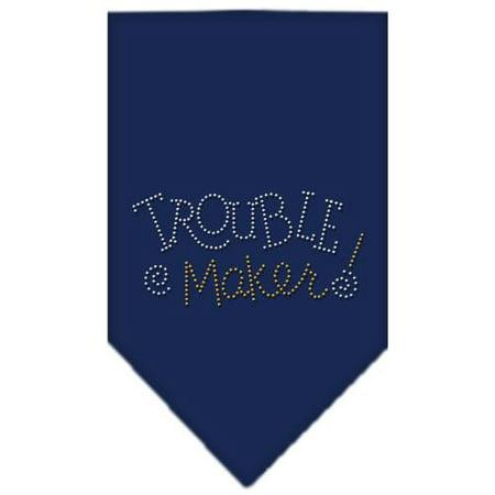 Trouble Maker Rhinestone Bandana Navy Blue large (Navy Blue Bandana)