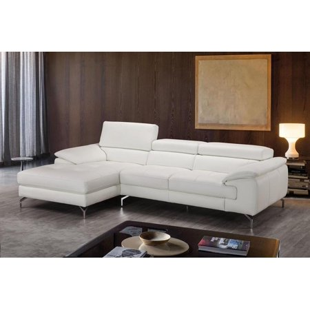 J M Alice White Premium Italian Leather Sectional Sofa Left Hand Chaise