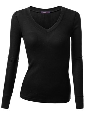 d0dbd670f62 Product Image Doublju Womens Long Sleeve V Neck Thermal Tee Shirts