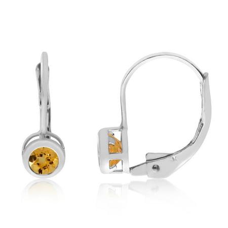 14k White Gold 4mm Citrine Bezel Leverback Earrings