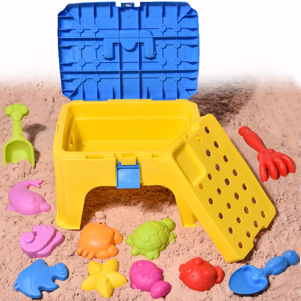 Click here to buy Beach Sand Toys with Chair Box for Kids Gift Colorful Play Set for Summer Outdoor Activities Sand Tools Pack with Sea....