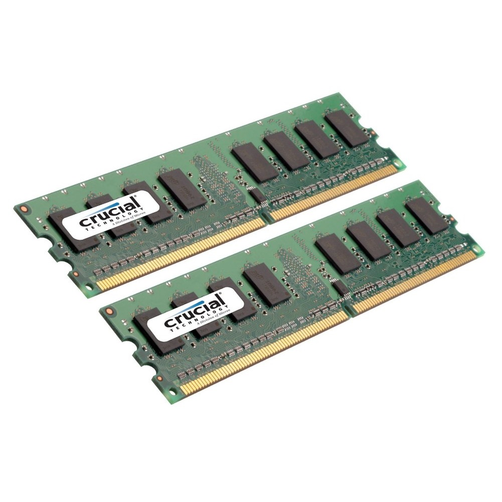 Crucial 2GB Kit (1GBx2) DDR2 PC2-6400 Unbuffered NON-ECC 1.8V 128Meg x 64