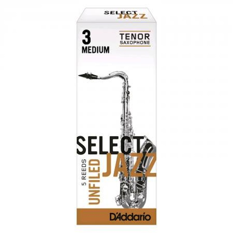 Rico Select Jazz Unfiled Bb Tenor Sax Reeds, 5ct, 3H strength by Rico