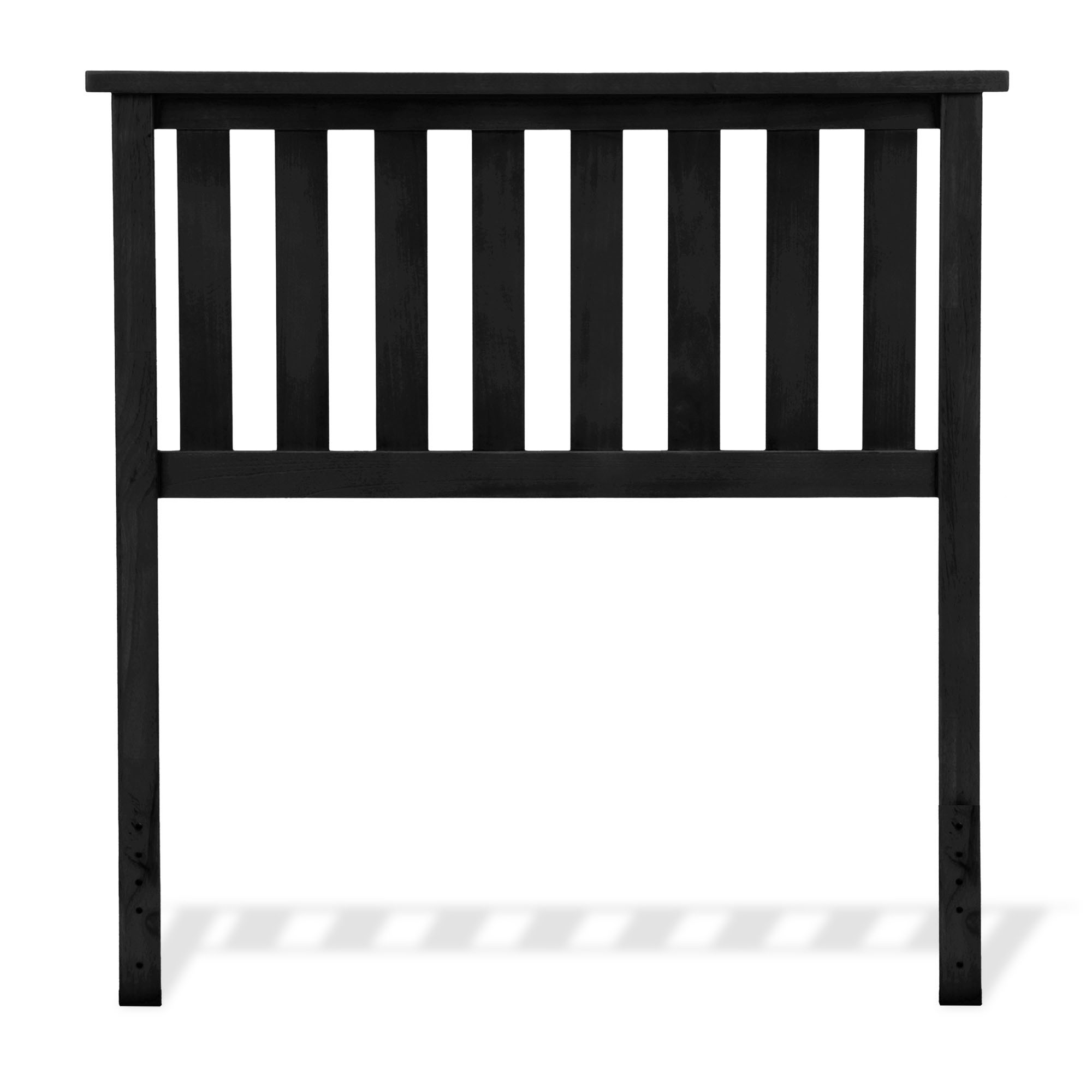 Belmont Wooden Headboard Panel with Slatted Grill Design, Black Finish, Twin by Fashion Bed Group