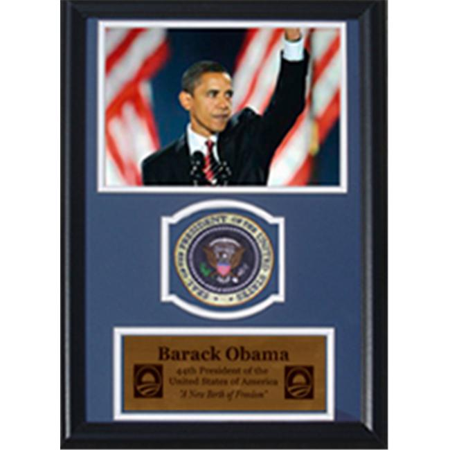 Encore Select 189-KN23808 Barack Obama Waving with Flags with Presidential Commemorative Patch in a 12 inch x 18 inch