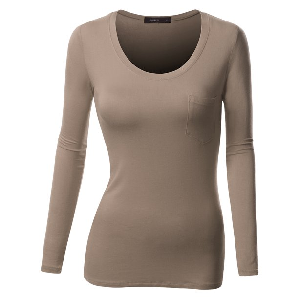 Doublju Womens Long Sleeve Round Neck Fitted T-Shirt With Pocket