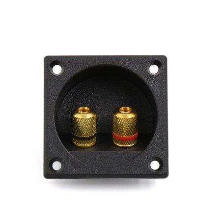 Square Black Audio Speaker Spring Binding Post 2 Terminal Box Connector Board