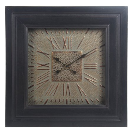 Privilege International Black Wood and Metal Square Wall Clock with Glass Roman Numerals