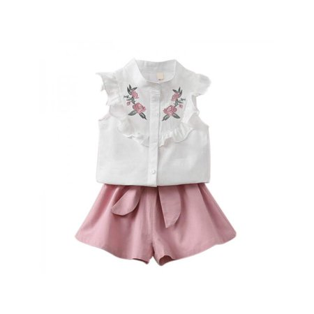 11cbb725b Esho - Baby Girls Summer Clothes Cotton Printed Embroidered Tops+Solid Shorts  Outfits Set - Walmart.com