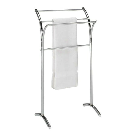 Vogue Chrome Towel Bar (Ioke Chrome Metal Transitional Free Standing Kitchen & Bathroom Towel & Quilt Stand Organizer Rack (3)