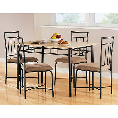 walmart dining room sets Mainstays 5 Piece Wood and Metal Dining Set, Natural   Walmart.com walmart dining room sets
