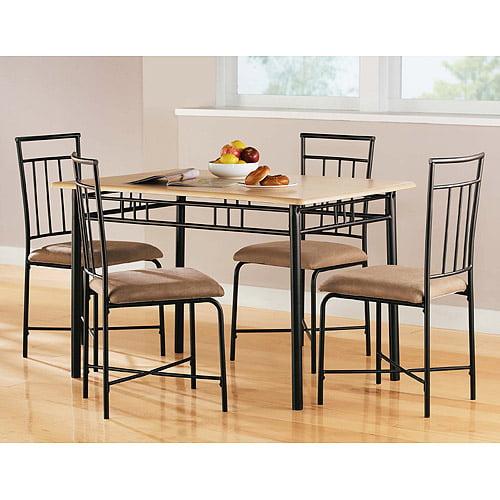 Mainstays 5 Piece Wood And Metal Dining Set Natural
