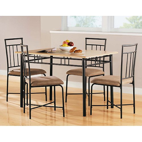 mainstays 5 piece wood and metal dining set natural walmartcom f1513eee 6f02 4d8c ab2c 2be7fc2bceca 1 - Walmart Kitchen Tables